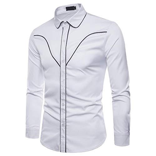 Yvelands Liquidación Casual Shirts Camisa de Manga Larga de Moda de otoño Hombres Camisa de Solapa de Blusa de Negocios S-12XLStriped Shirt