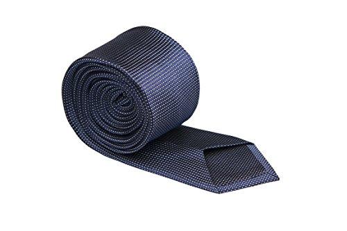 Notch Schmale Krawatte aus Seide für Herren - Marineblaue Basis und winzige Punkte in Weiß (Seide Winzige)