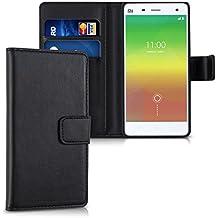 kwmobile Funda para Xiaomi MI4 - Wallet Case plegable de cuero sintético - Cover con tapa tarjetero y soporte en negro