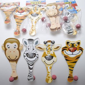Zoo Animal Paddle Ball Games (12 Pack)