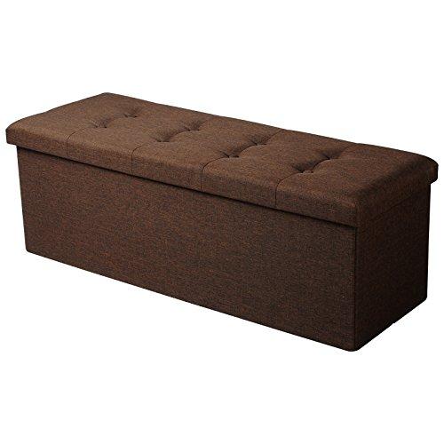 Woltu sh11br-1 pouf contenitore sgabello pieghevole poltrona poggiapiedi cassapanca scarpiera 110x37,5x38cm marrone