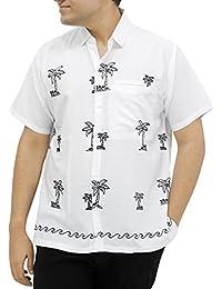 La Leela designer arbre de coco brodé nager chemise hawaïenne pour les hommes