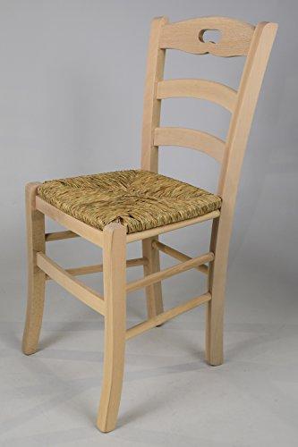 Set 2 sedie cucina e sala da pranzo dallo stile classico, con robusta struttura in legno di faggio levigato, non trattato, 100% naturale e con seduta in paglia. set savoie 38 by tommychairs, sedie di design.