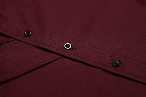 Coofandy Chemise Homme Manche Longue Coton de Marque Col Italien Casual Décontracté Taille S-XXXL Bordeaux