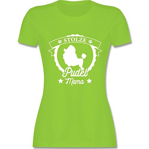 Hunde - Stolze Pudel Mama - Damen T-Shirt Rundhals Hellgrün