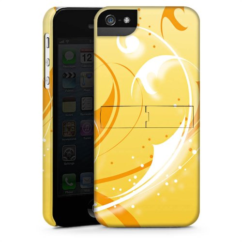 Apple iPhone 4 Housse Étui Silicone Coque Protection Vrilles Ornements Jaune CasStandup blanc