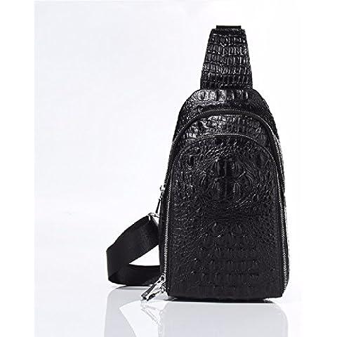 KHSKX Testa maschile e femminile modello coccodrillo cuoio Chest Pack coreano moda sport outdoor croce obliqua borsa tracolla in pelle,marrone