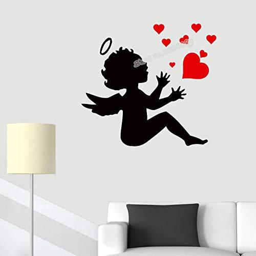 yaoxingfu Engel Und Herz Wandaufkleber Wohnkultur Baby Kindergarten Kinder Schlafzimmer Romantische Wandbilder Soggiorno Adesivo Da Parete Poster E schwarz 121x110 cm
