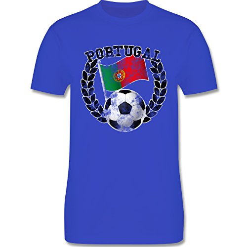 EM 2016 - Frankreich - Portugal Flagge & Fußball Vintage - Herren Premium T-Shirt Royalblau