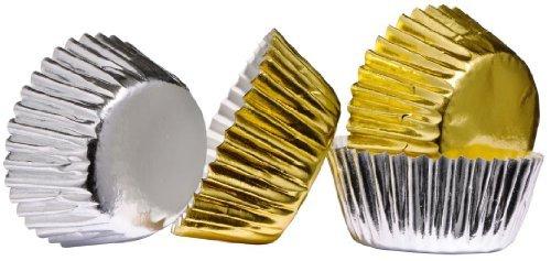 oeyfiea plata y oro 100piezas de envoltorios para cupcakes de papel/con revestimiento de papel de aluminio