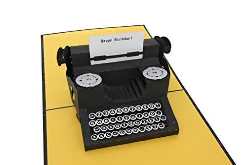 PopLife Pop-Up-Karte für Schreibmaschine, 3D-Karte für alle Anlässe – Happy Birthdays (Für Danke Sympathie-karten Die)