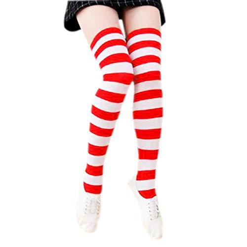 CHIC DIARY Overknee Strümpfe Damen Mädchen Cheerleader Kostüm College Gestreifte Kniestrümpfe Sportsocken Baumwollstrümpfe (Kostüme Cheerleader Für Frauen)