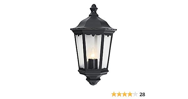 Traditional Black Cast Aluminium Outdoor Lantern Wall Light By Happy Homewares Amazon Co Uk Garden Outdoors
