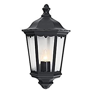 Haysoms Traditional Cast Outdoor Flush Lantern Wall Light Fitting, Aluminium, Black