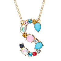 Large Initial Necklace Colorful Rhinestones Gemstone Crystal Gold Plated Necklace for Women, 26 Alphabet Monogram Letter Pendant Gift for Woman Multicolor