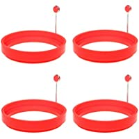 SUMAJU Egg Ring, 4Pcs Red Egg Rings Silicone Non Stick Round Cooking Pancake Mould