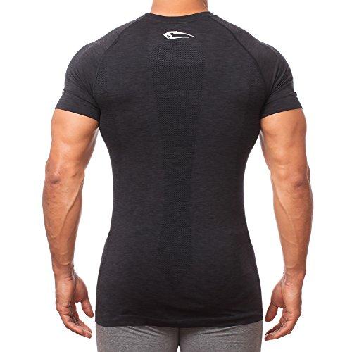 SMILODOX Slim Fit T-Shirt Herren 'Fortress'   Seamless - Kurzarm Funktionsshirt für Sport Fitness Gym & Training   Trainingsshirt - Laufshirt - Sportshirt mit Aufdruck Anthrazit