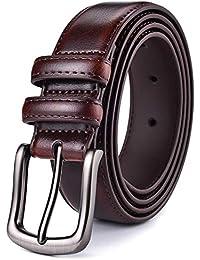 Xhtang Ceinture pour hommes, Ceinture habillée en cuir pour hommes avec  boucle à ardillon simple 5244a8f9505