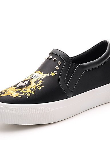 ZQ Scarpe Donna - Ballerine / Mocassini - Formale / Casual / Serata e festa - Creepers / Comoda - Piatto - Sintetico - Nero / Bianco , white-us8 / eu39 / uk6 / cn39 , white-us8 / eu39 / uk6 / cn39 white-us5.5 / eu36 / uk3.5 / cn35
