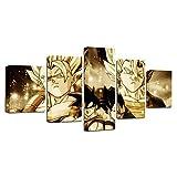 FJLOVE Impresiones de Lienzo Dragon Ball Chichi La Esposa de Goku Nube de Volteretas Juego de 5 combinables Decorativas Póster Wall Art Decoración,Frameless+F,150x80cm