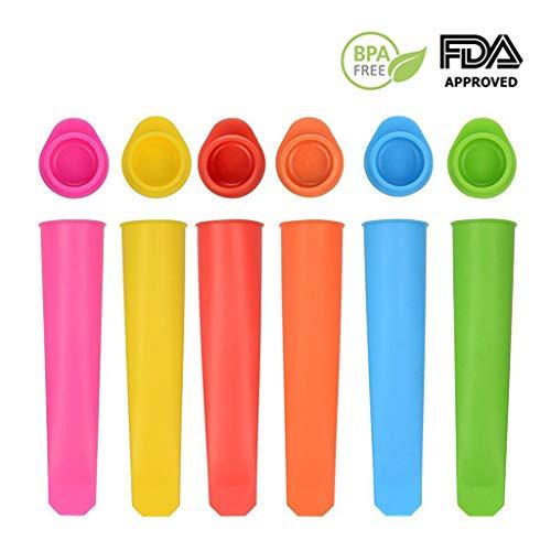 6 Eisformen BPA Frei - Eis Popsicle Formen Set - Selbstmach Eis am Stiel für Kinder und Erwachsene - Stieleis Schnell selbstgemacht - Spülmaschinenfest