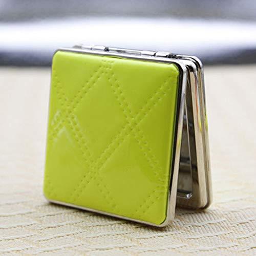 LBPLWY Qualitäts-Frauen Arbeiten Minispiegel-Make-up, tragbare Taschen-Kosmetikspiegel mit doppelseitigem PU-Spiegel um-Green (Make-up-spiegel Mit Tasche)