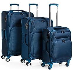 JASLEN - 51900 Juego Set 3 Maletas Trolley 50/60 / 70 cm poliéster EVA. Semirígidas, Resistentes y Ligeras. Mango telescópico, 2 Asas 4 Ruedas Dobles. Candado Integrado. Pequeña Low Cost, Color Azul
