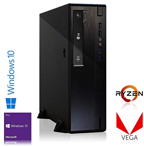 Memory PC Mini Gaming PC Ryzen 5 2400G 4X 3.6 GHz Quadcore, AMD Vega 11, 16 GB DDR4, 240 GB SSD Windows 10 Pro 64 Bit