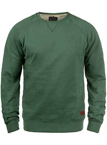 BLEND Alex Herren Sweatshirt Pullover Sweater mit Rundhalskragen aus hochwertiger Baumwollmischung, Größe:M, Farbe:Dark Green (77223)