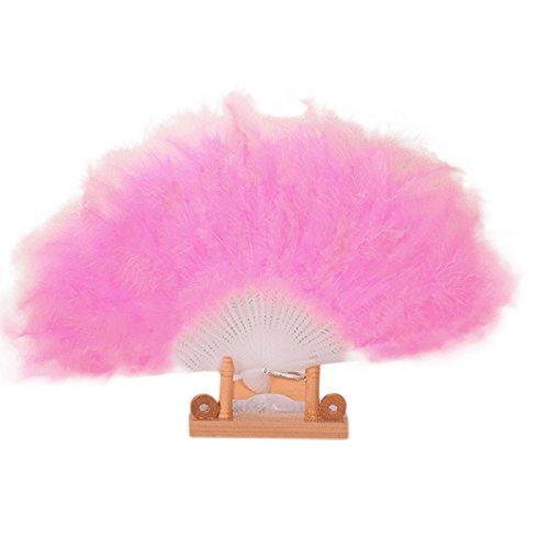 Hochzeit Showgirl Dance elegante große Feder Falten Hand Fan Decor Aufkleber von Janly (Rosa) -