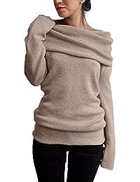 ZANZEA Femme Sexy Pull Tricot Epaule Nue Manches Longues Slim Jumpers Sweater Hauts Sweatshirt