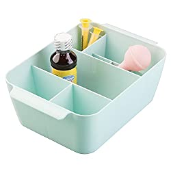 mDesign Baby Nursery Storage Organizer Bin for Medicine, Thermometer, Nasal Aspirator, Washcloths - Mint
