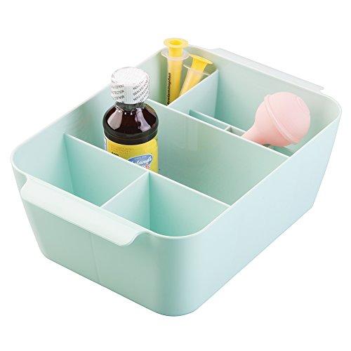 mDesign Baby Nursery Storage Organizer Bin for Medicine, Thermometer, Nasal Aspirator, Washcloths - Mint