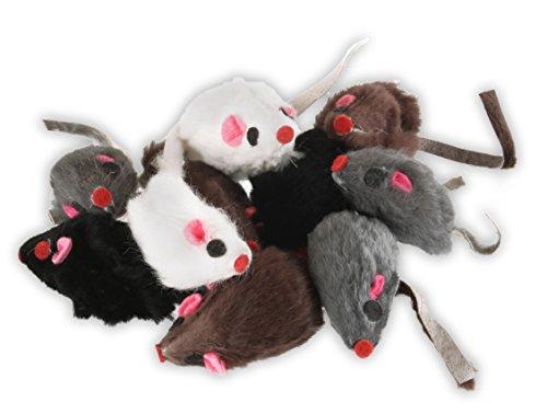 EBI Fellmaus 10 Stück - ideales Katzenspielzeug zur Beschäftigung von Stubentigern - 10 Echtfell-Mäuse im Set je 5 cm