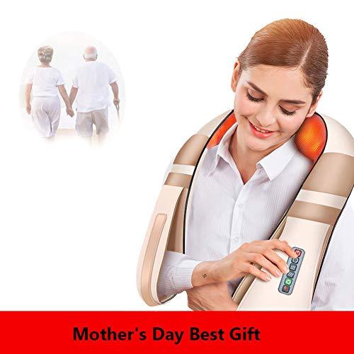 yyqamy Shiatsu Nackenmassagegerät Mit Wärmefunktion Verspannungen Schulter Nacken Mit Wärmefunktion 3D-Rotation Massage Einstellbaren Perfekt Für Eltern, Alte, Freunde Im Haus Büro