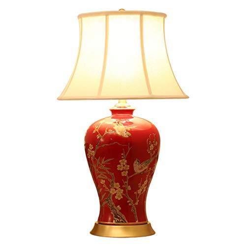 HLQW Tischlampe Schlafzimmer, Schlafzimmer, American Garden Wedding House, gemalte Blume und rote...