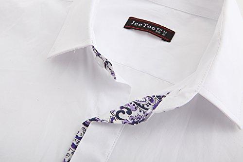 JEETOO Herren Freizeit Slim Fit Abeitehemd super Qualität Shirt Bügelleicht Tops für Männer Weiß_2
