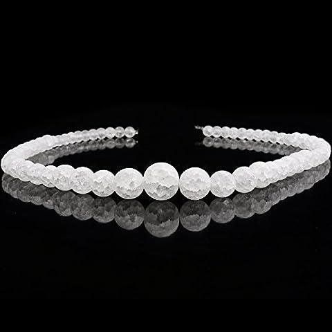 Rubyca Naturel AAA Grade Blanc clair cristal de quartz craquelé Perles rondes Bijoux 1fil, White Snow Strand of Mixed Size Beads, strand