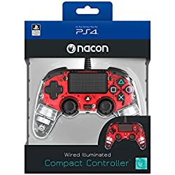 Nacon - Mando para PS4, Rojo Transparente