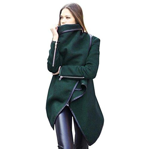 Minetom Damen Mantel Unregelmäßig Trenchcoat Herbst Windschutz Jacke (Dunkel Grün S)