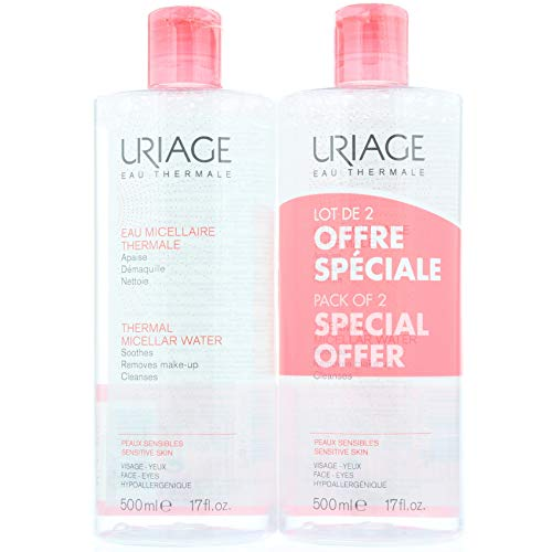 Uriage acqua Micellare termale per pelli sensibili, 500ml, confezione da 2