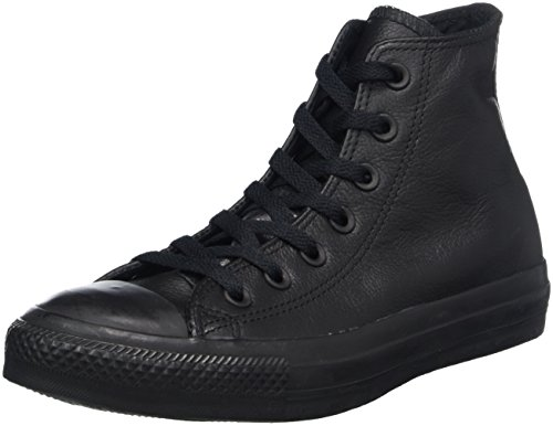 Taylor Leder Schwarz High-top (Converse Chuck Taylor All Star Adulte Mono Leather Hi, Unisex-Erwachsene Hohe Sneakers, Black Mono, 38 EU)