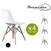 Dormidán- Pack 4 sillas tower en blanco, silla réplica eames y madera de haya, medidas: 47 cm ancho x 56 cm fondo x 81 cm altura (Blanco)