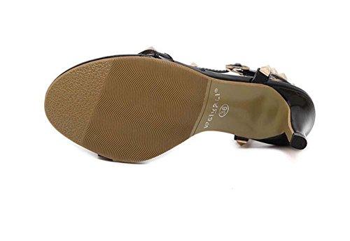 Onfly Donne Peep Toe Tacchi alti Sandali Rivetto Cinghie di caviglia Stiletto Scarpe Semplice Annata Sandali White