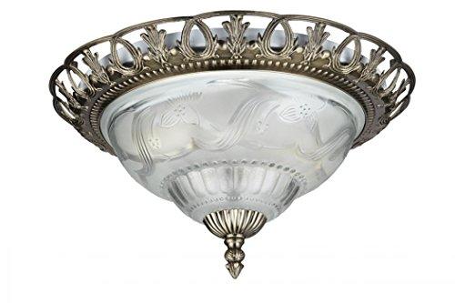 Landhaus Stil Decken Beleuchtung Lampe Glas Leuchte Messing antik Blumen Dekor Searchlight 7045-13 -