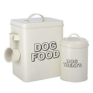 CrazyGadget® 2 boîtes de stockage de nourriture et friandises pour chien style rétro, couleur crème