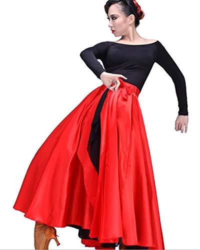 Grouptap Flamenco rot Spanisch mexikanische Frauen Damen Erwachsenen Kostüm Kostüm Rumba Salsa Tango Childs Größe Tänzer Party-Outfit (Rot & Schwarz, 150-170 (Tänzer Kostüm Frauen)