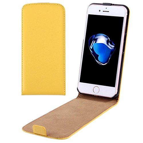 Casse del telefono mobile & Cover, Per il caso di cuoio di iPhone 7 Plus verticale flip Genuine Split ( Colore : Giallo )