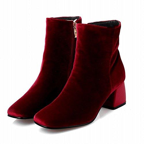 Mee Shoes Damen Vierkant Suede Reißverschluss chunky heels Ankle Boots Rot
