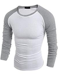 Logobeing Blusa de Cuello Redondo Ajustada Para Hombre Camisa Casual Camiseta Manga Corta Muscle Tops (Vino, S)